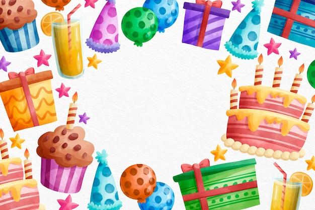 Aquarel gelukkige verjaardag muffins en feestmutsen