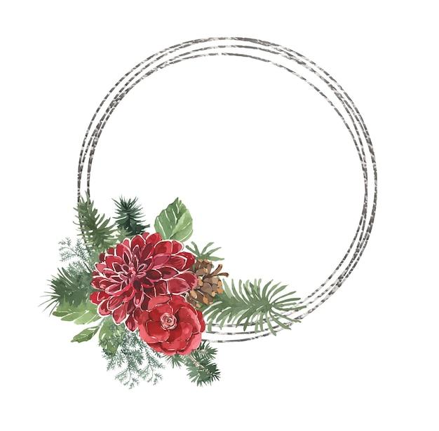Aquarel geometrische kerst zilveren frame met dennennaalden en eucalyptus