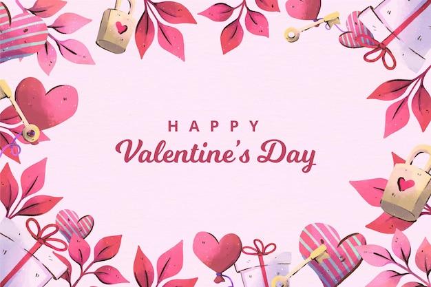 Aquarel geschilderd valentijnsdag achtergrond