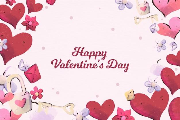 Aquarel geschilderd valentijnsdag behang