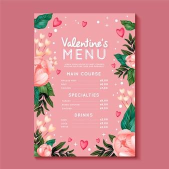 Aquarel geschilderd valentijnsdag menusjabloon