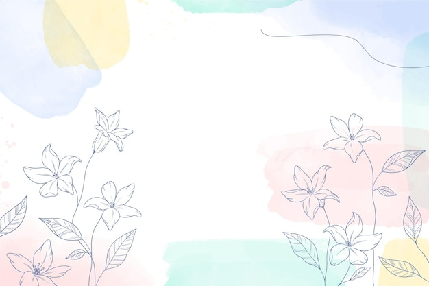 Aquarel geschilderde achtergrond met hand getrokken bloemen
