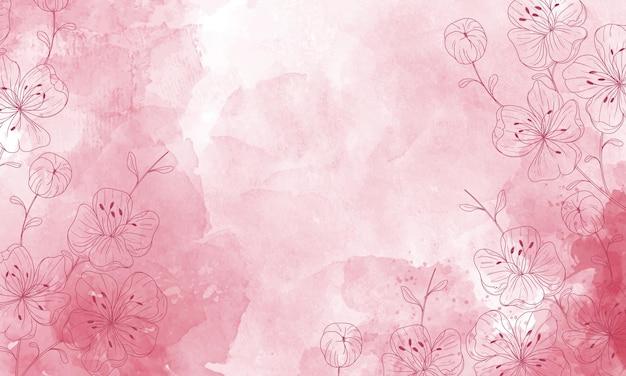 Aquarel geschilderde achtergrond met handgetekende bloemen