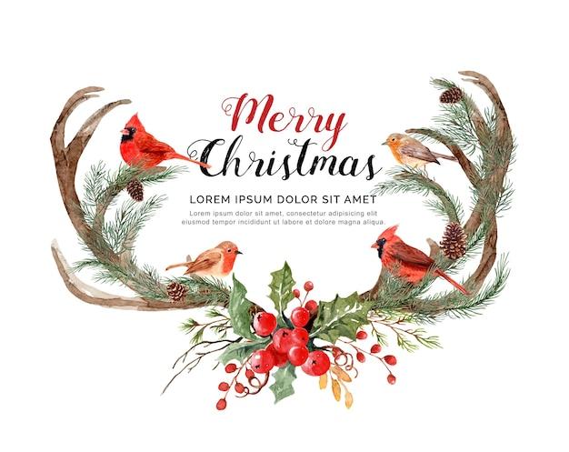 Aquarel gewei rendier met vogels kerstmis.