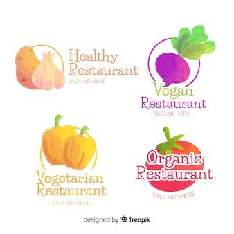 Aquarel gezond voedsel logo set