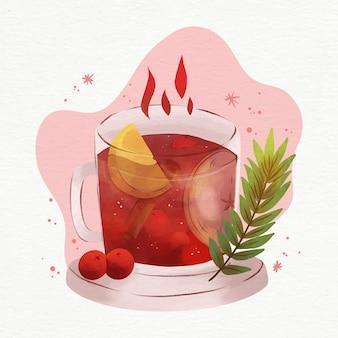 Aquarel glühwein illustratie