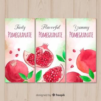 Aquarel granaatappel banners