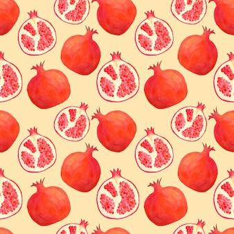 Aquarel granaatappel naadloze patroon