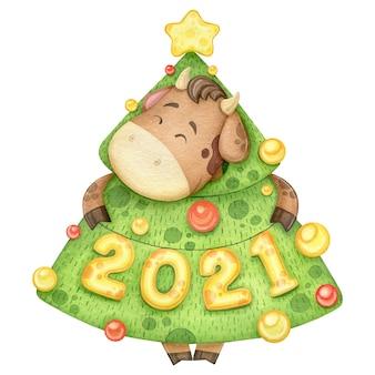 Aquarel grappige stier in kerstboom kostuum.