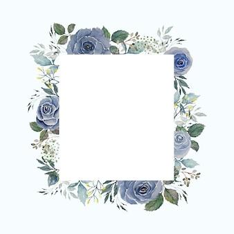 Aquarel grijs blauwe rozen bloem en groene bladeren grenskader