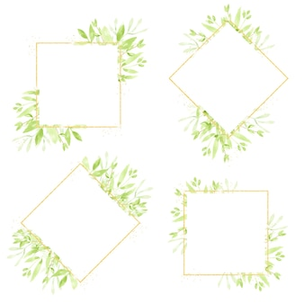 Aquarel groene bladeren gouden glitter krans frame-collectie