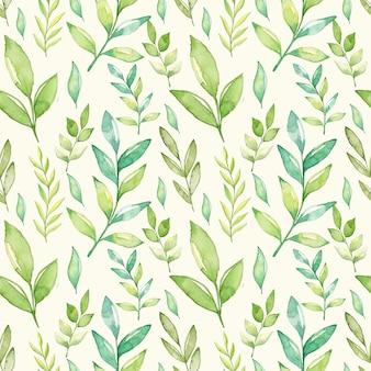Aquarel groene bladeren naadloze patroon