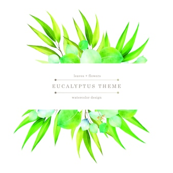 Aquarel groene bloemen kaart