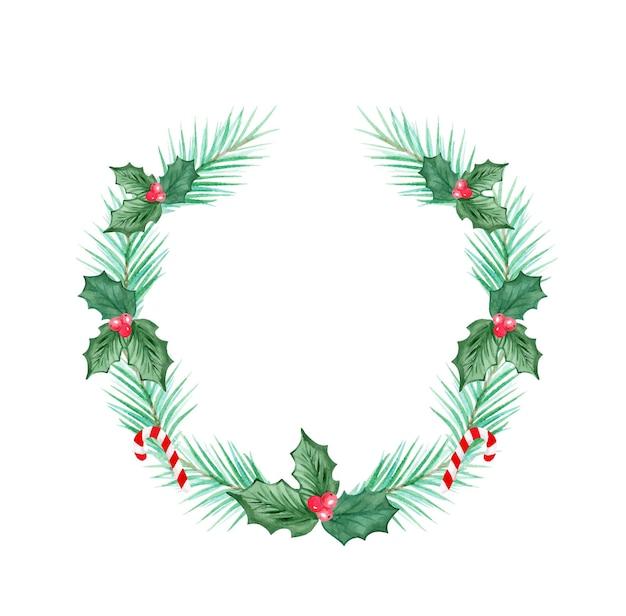 Aquarel groene kerstkrans met hulst geïsoleerd op een witte achtergrond hand getrokken illustratie