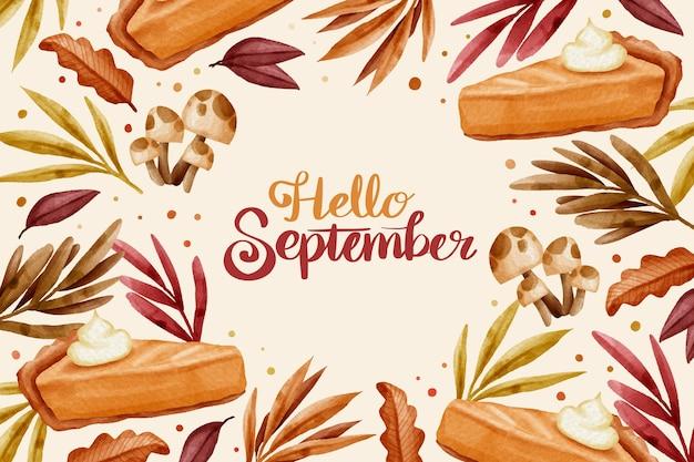Aquarel hallo september achtergrond