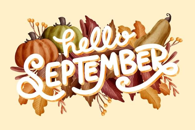 Aquarel hallo september belettering