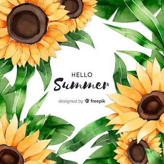 Aquarel hallo zomer achtergrond