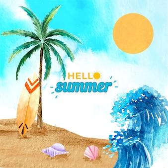 Aquarel hallo zomer concept