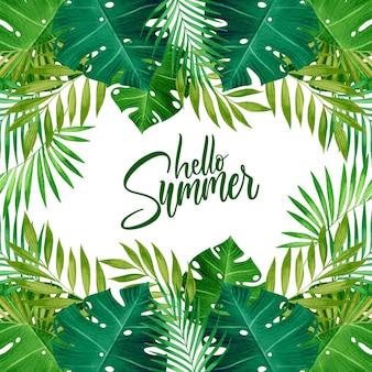 Aquarel hallo zomer exotisch gebladerte
