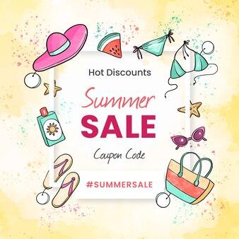 Aquarel hallo zomer verkoop ontwerp