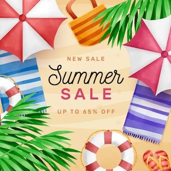 Aquarel hallo zomerverkoop en parasols