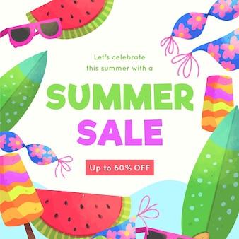 Aquarel hallo zomerverkoop met watermeloen