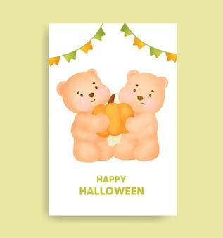 Aquarel halloween beer met pompoen kaart.