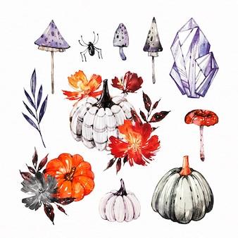 Aquarel halloween element collectie