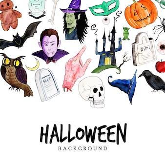 Aquarel halloween elementen achtergrond