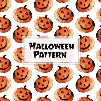 Aquarel halloween elementen patroon achtergrond