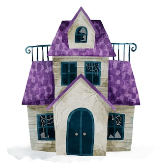 Aquarel halloween huis illustratie