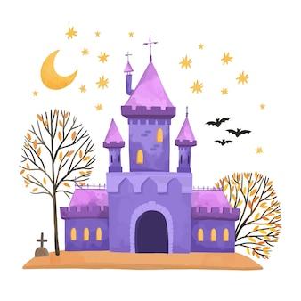 Aquarel halloween huis
