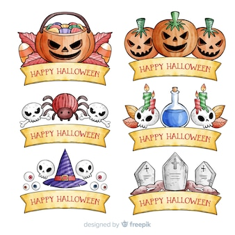 Aquarel halloween label collectie
