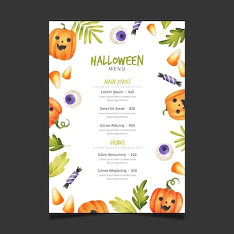 Aquarel halloween menusjabloon