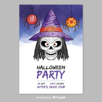 Aquarel halloween partij poster sjabloon