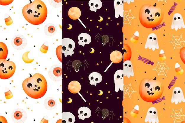 Aquarel halloween patronen collectie