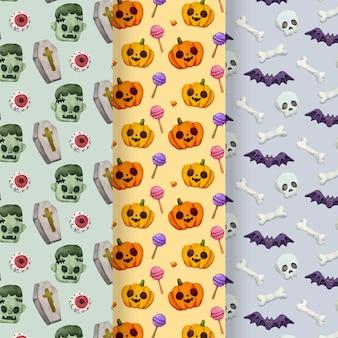 Aquarel halloween patronen concept