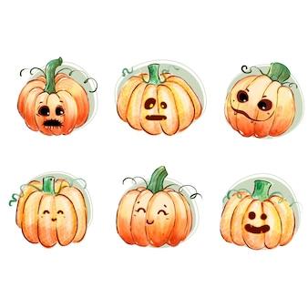 Aquarel halloween pompoen collectie