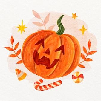 Aquarel halloween pompoen illustratie