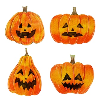 Aquarel halloween pompoen set