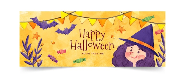 Aquarel halloween sociale media voorbladsjabloon