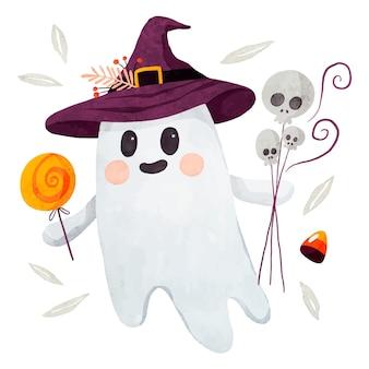 Aquarel halloween spookillustratie