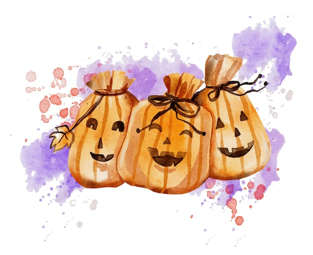 Aquarel halloween tas illustratie