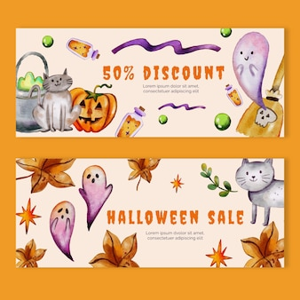 Aquarel halloween verkoop horizontale banners set