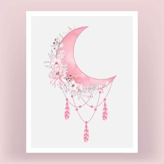 Aquarel halve maan in felroze tint met bloem