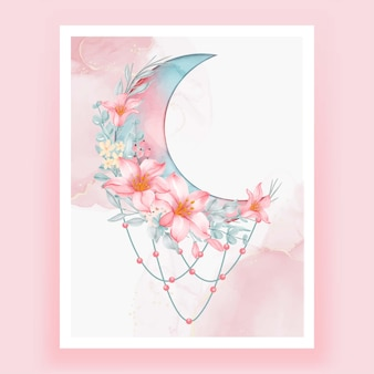 Aquarel halve maan met roze perzik bloem