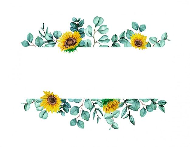 Aquarel hand beschilderd met groene eucalyptus bladeren en zonnebloemen frame
