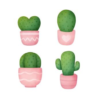 Aquarel hand getekend een cactus in pot set.
