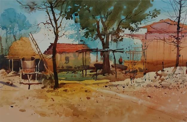 Aquarel hand getekend mooie plek binnen in het dorp huis illustratie