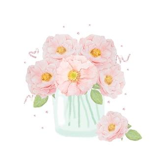 Aquarel hand getekend roze engelse roos boeket in glas met glitter geïsoleerd op wit